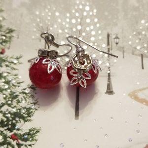 Christmas RED ornament earrings